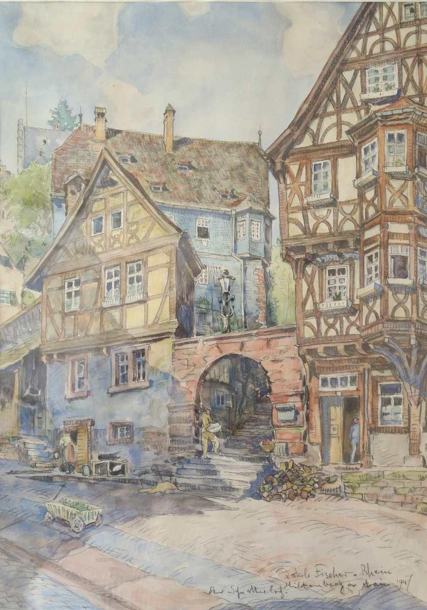 Miltenberg am Main, am Schnatterloch, 1947, Aquarell auf Papier, für vergrößerte Ansicht anklicken!