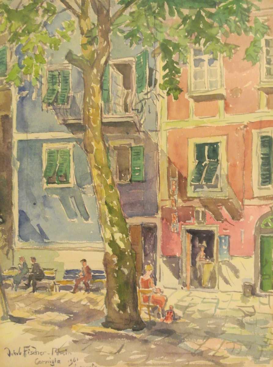 Cornigla, Levante, 1961, Aquarell des Malers Jakob Fischer-Rhein! Klicken für vergrößerte Ansicht!