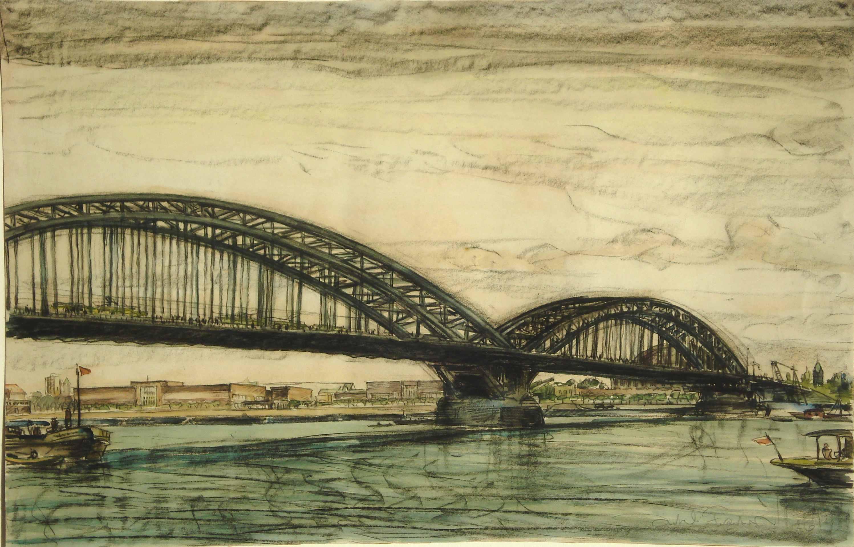 Düsseldorf Rheinbrücke, für vergrößerte Ansicht anklicken!
