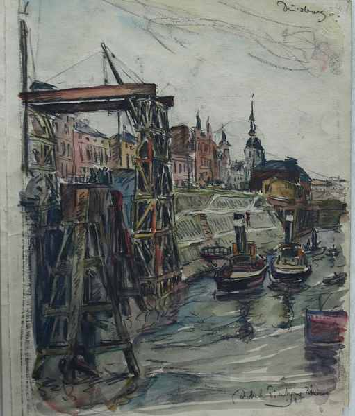 Duisburg, o. J., 25 x 31 cm, Aquarell auf Pappe von Jakob Fischer-Rhein!