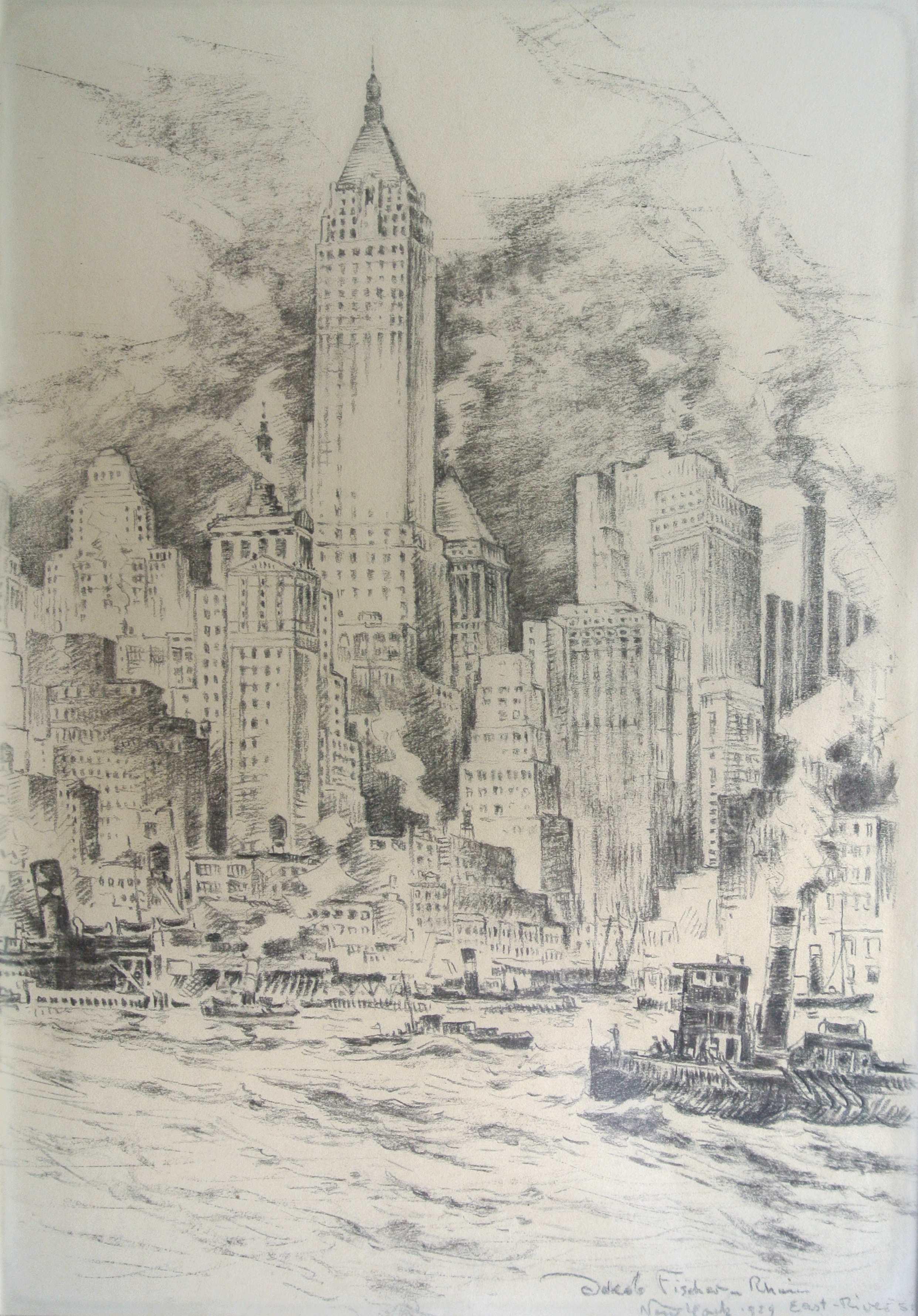 East River Side, New York, 1929, für vergrößerte Ansicht anklicken!