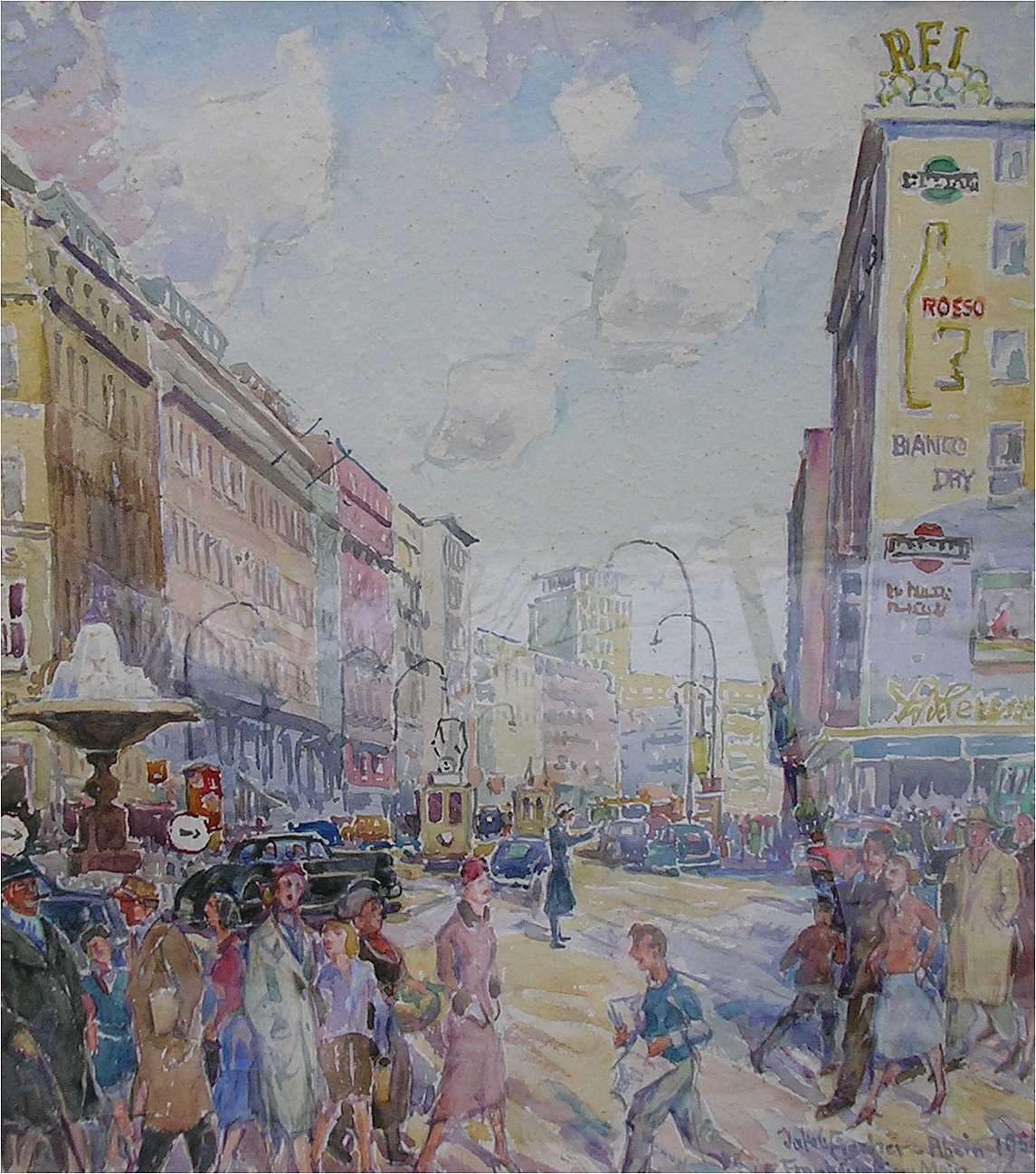 Frankfurt, 1954, Aquarell des Malers Jakob Fischer-Rhein! Klicken für vergrößerte Ansicht!