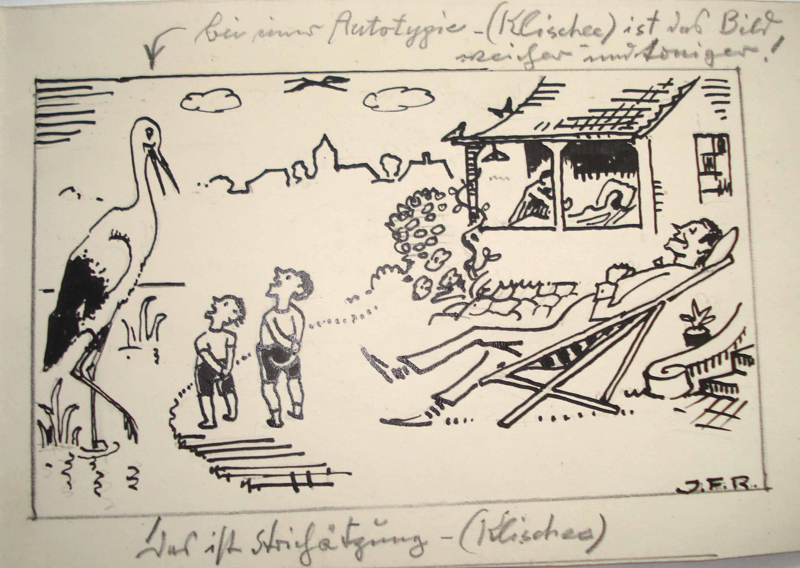 Entwurf für eine Geburtsanzeigel, 1956, für vergrößerte Ansicht anklicken!