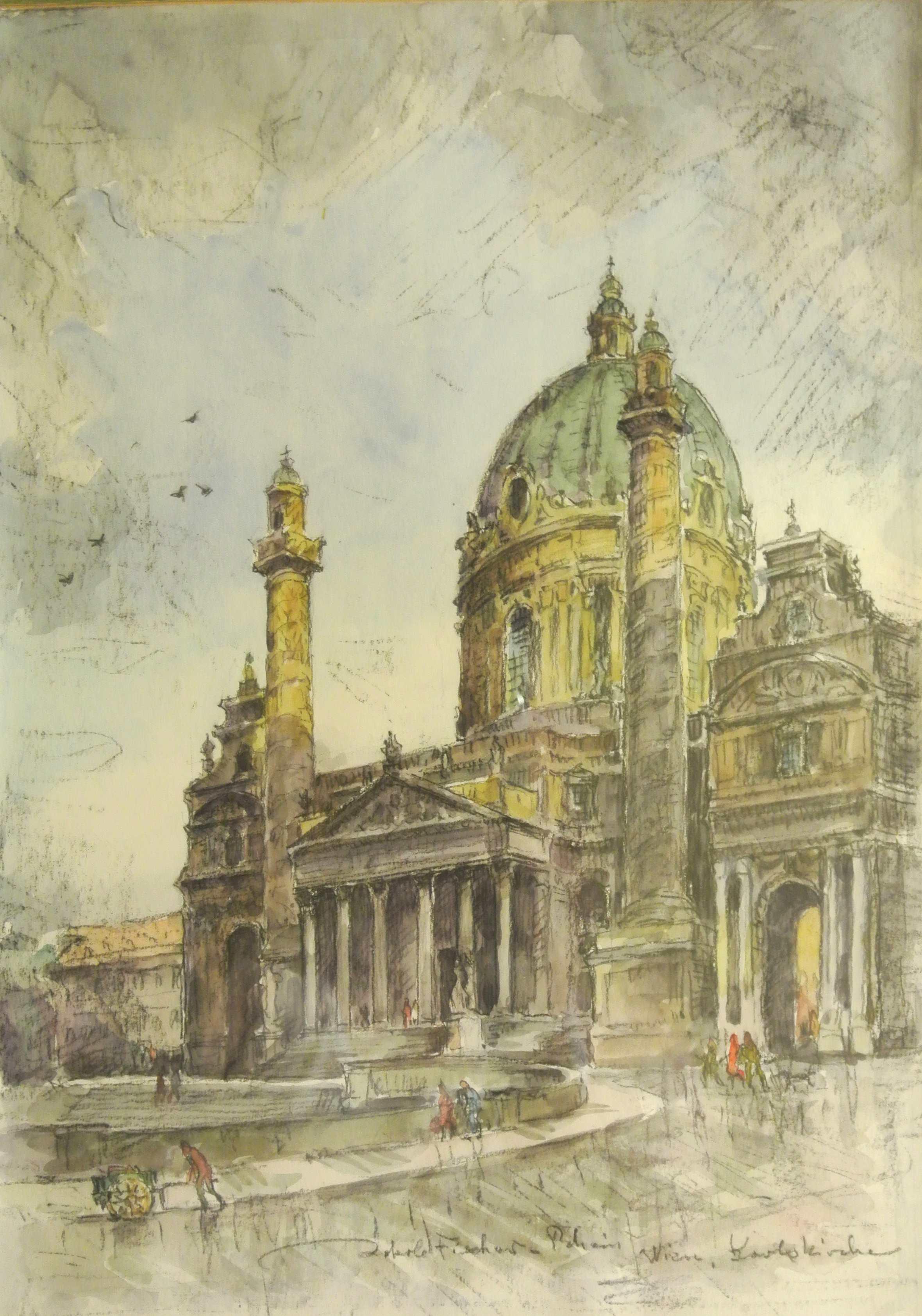 Karlskirche, Wien, ohne Jahr, für vergrößerte Ansicht anklicken!