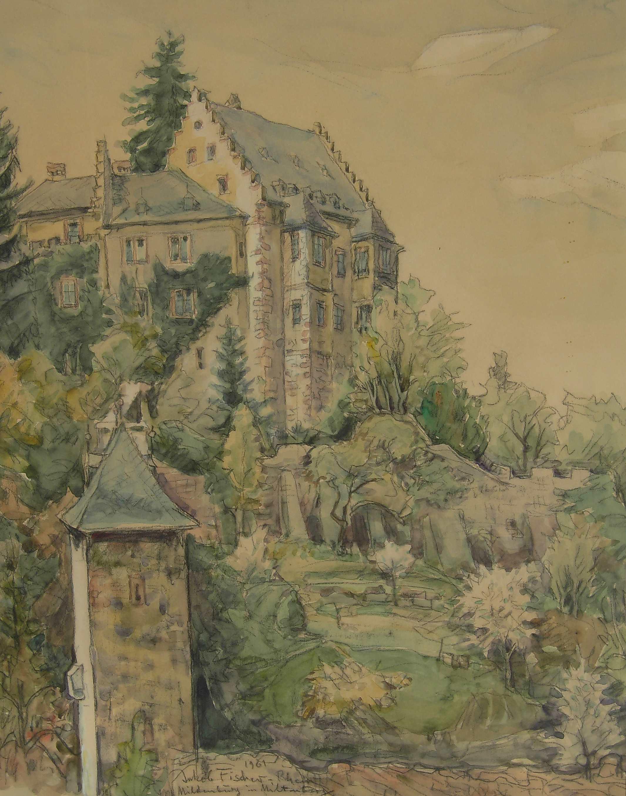Miltenberg, 1961, Aquarell des Malers Jakob Fischer-Rhein! Klicken für vergrößerte Ansicht!