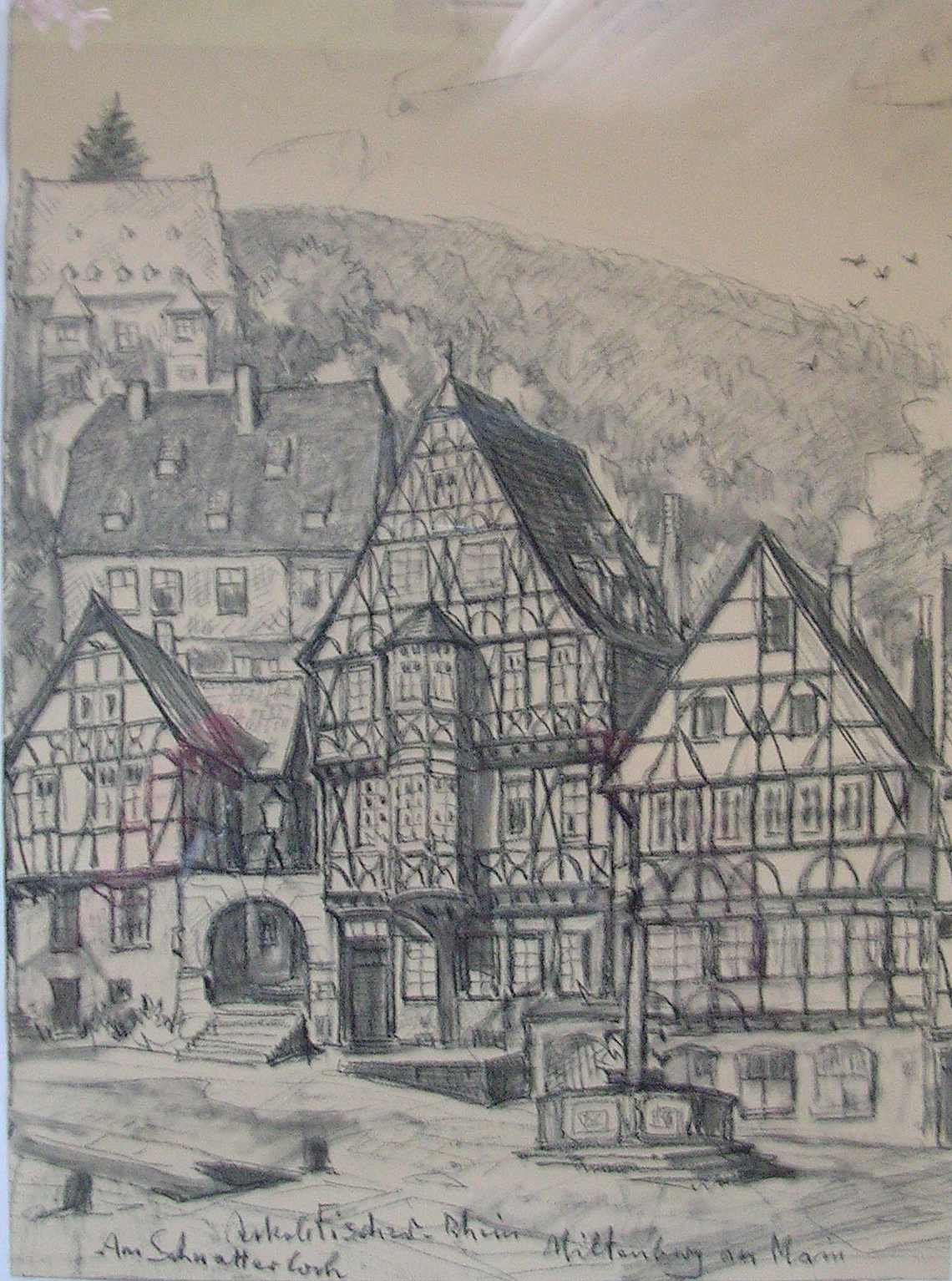Miltenberg Am Schnatterloch, o. J., 28 x 38 cm, Kohlezeichnung von Jakob Fischer-Rhein!