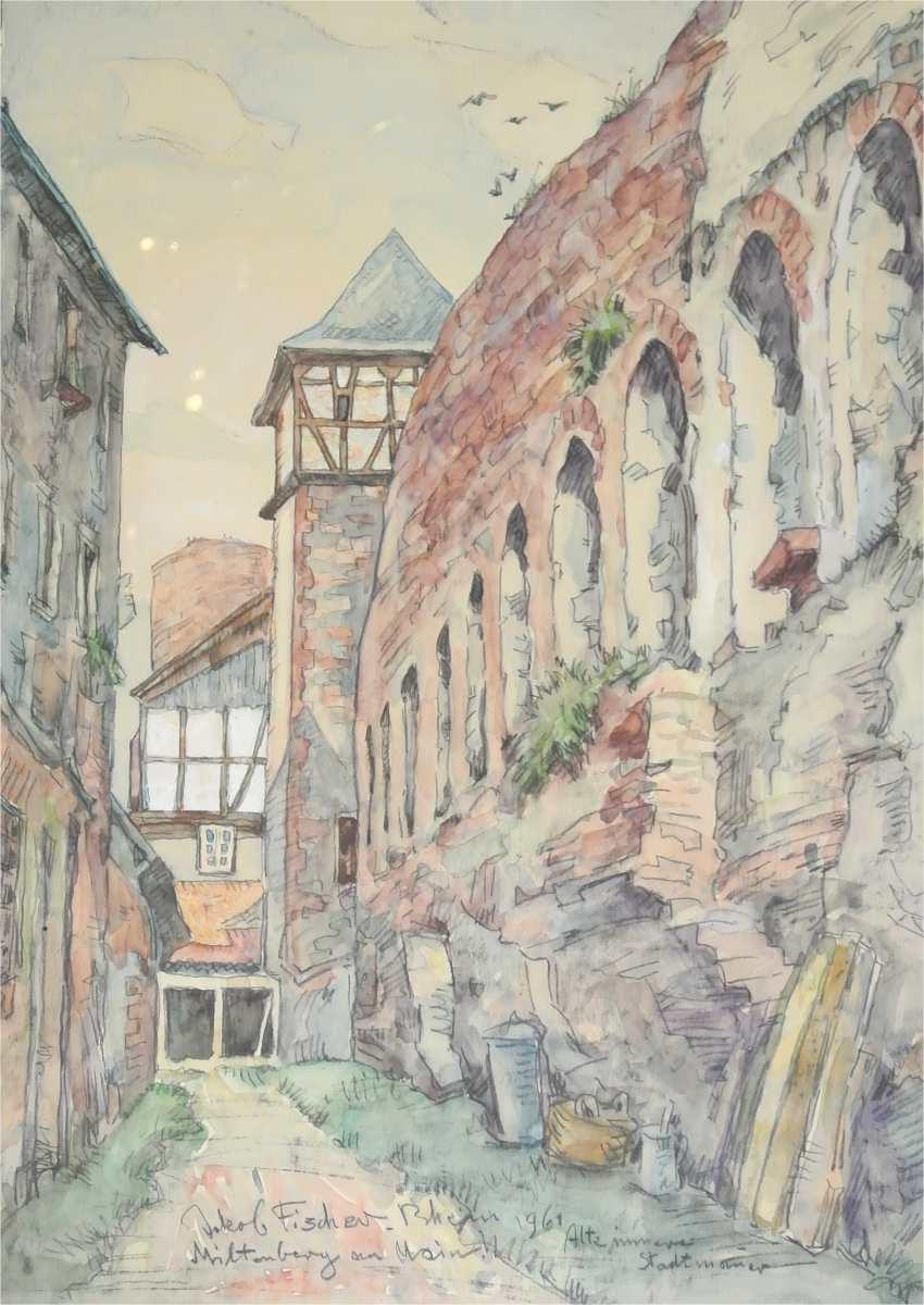 Miltenberg am Main, alte innere Stadtmauer, 1961, Aquarell auf Papier, für vergrößerte Ansicht anklicken!