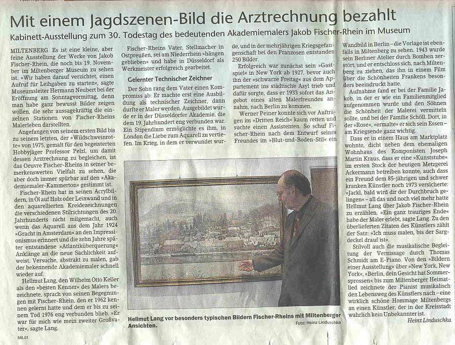 Miltenberger Tageblatt 24.10.2006 - Mit einem Jagdszenen-Bild die Arztrechnung bezahlt