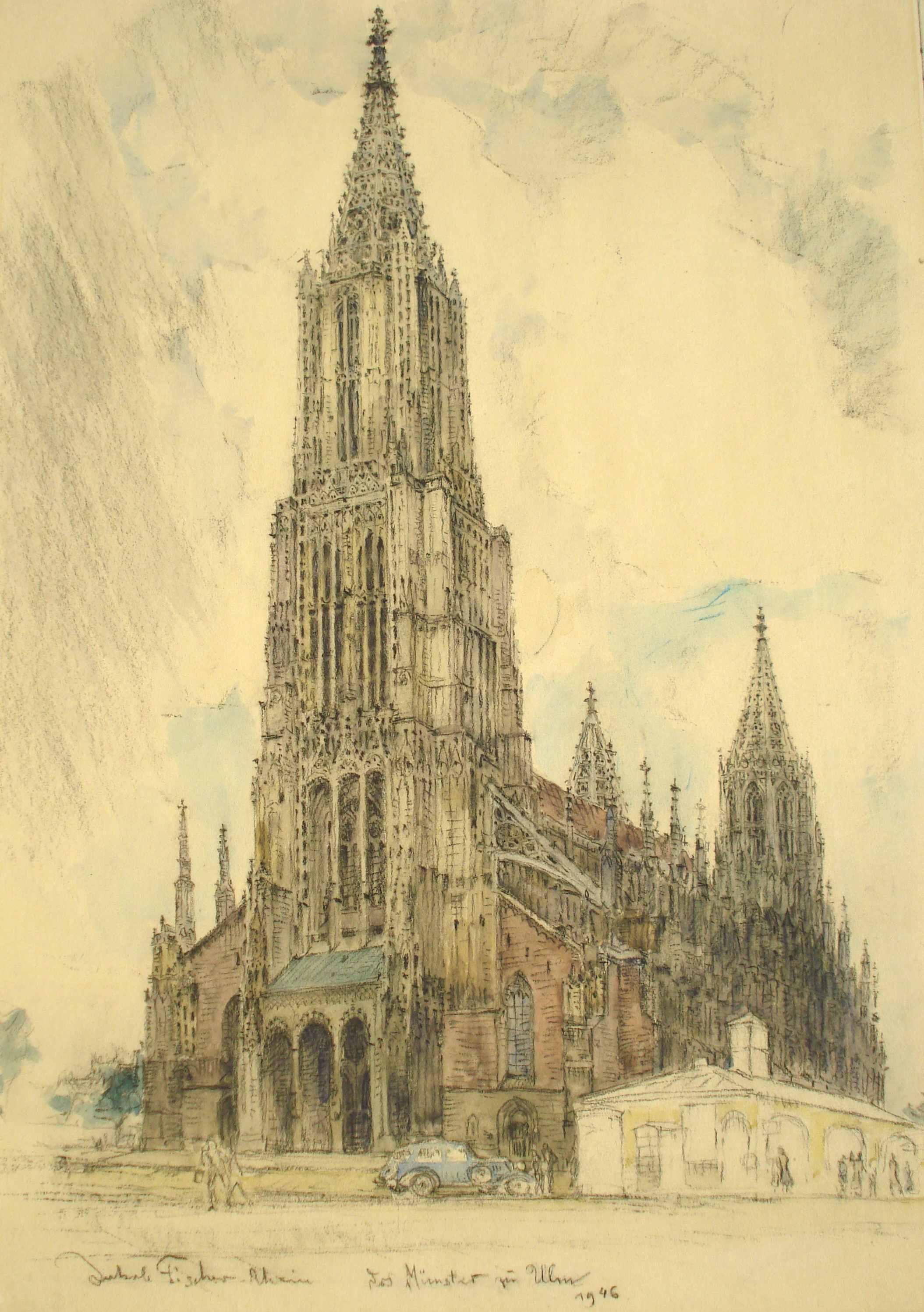 Das Münster zu Ulm, 1946, für vergrößerte Ansicht anklicken!