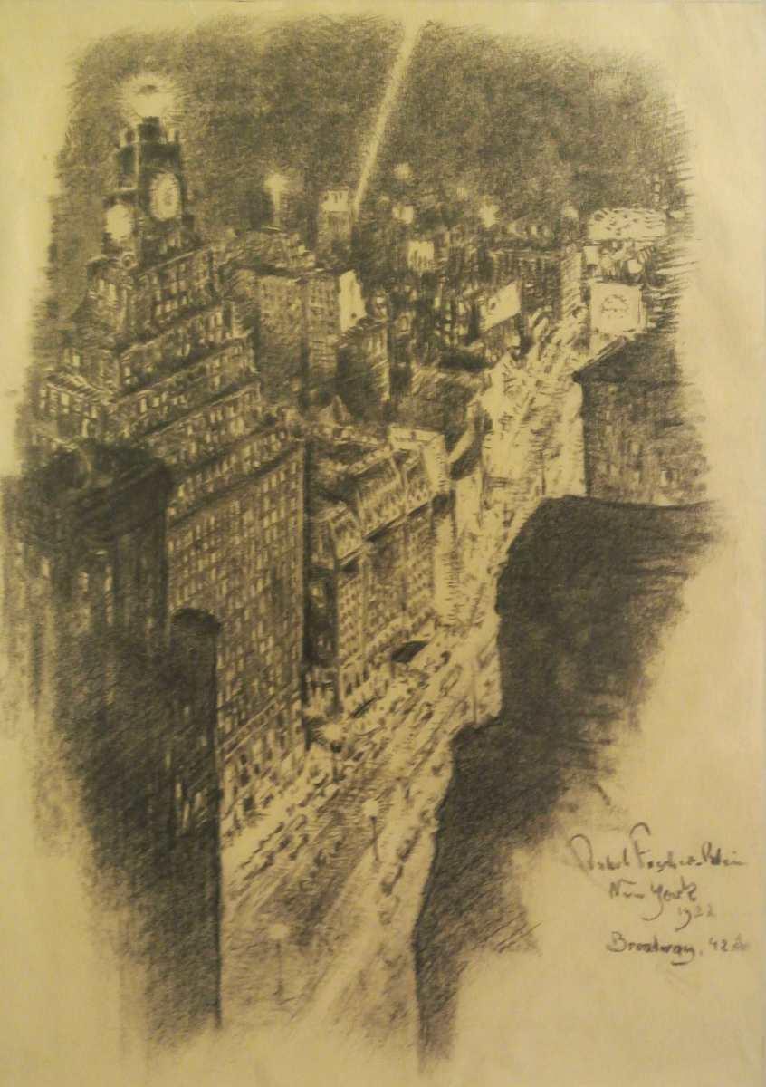 New York, Broadway 42. Str., 1922, Zeichnung des Malers Jakob Fischer-Rhein! Klicken für vergrößerte Ansicht!