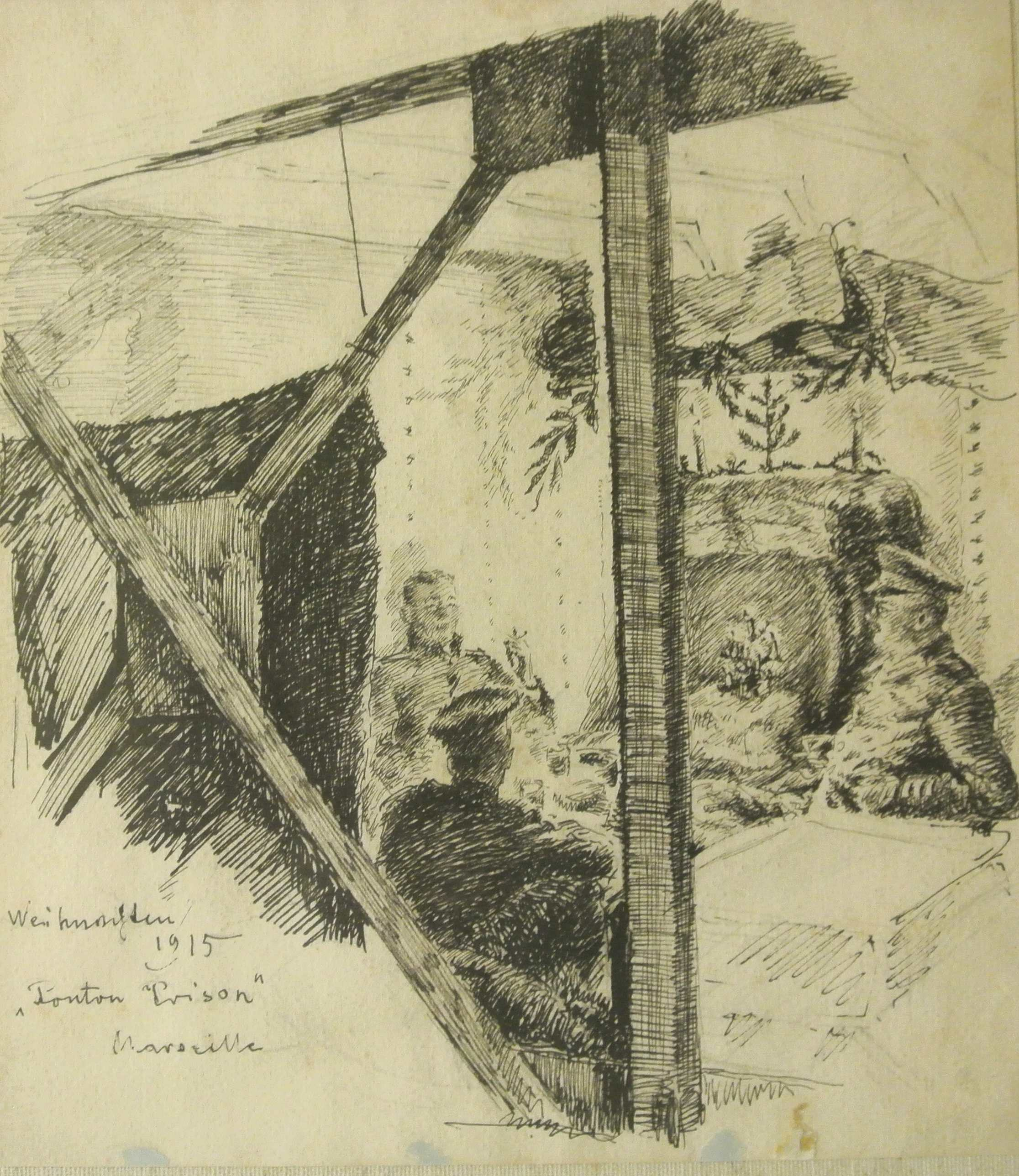 Ponton Prison, Weihnachten 1915, für vergrößerte Ansicht anklicken!
