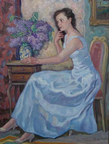 Portrait einer Schönen, o. J., 40 x 55 cm, Gemälde von Jakob Fischer-Rhein!