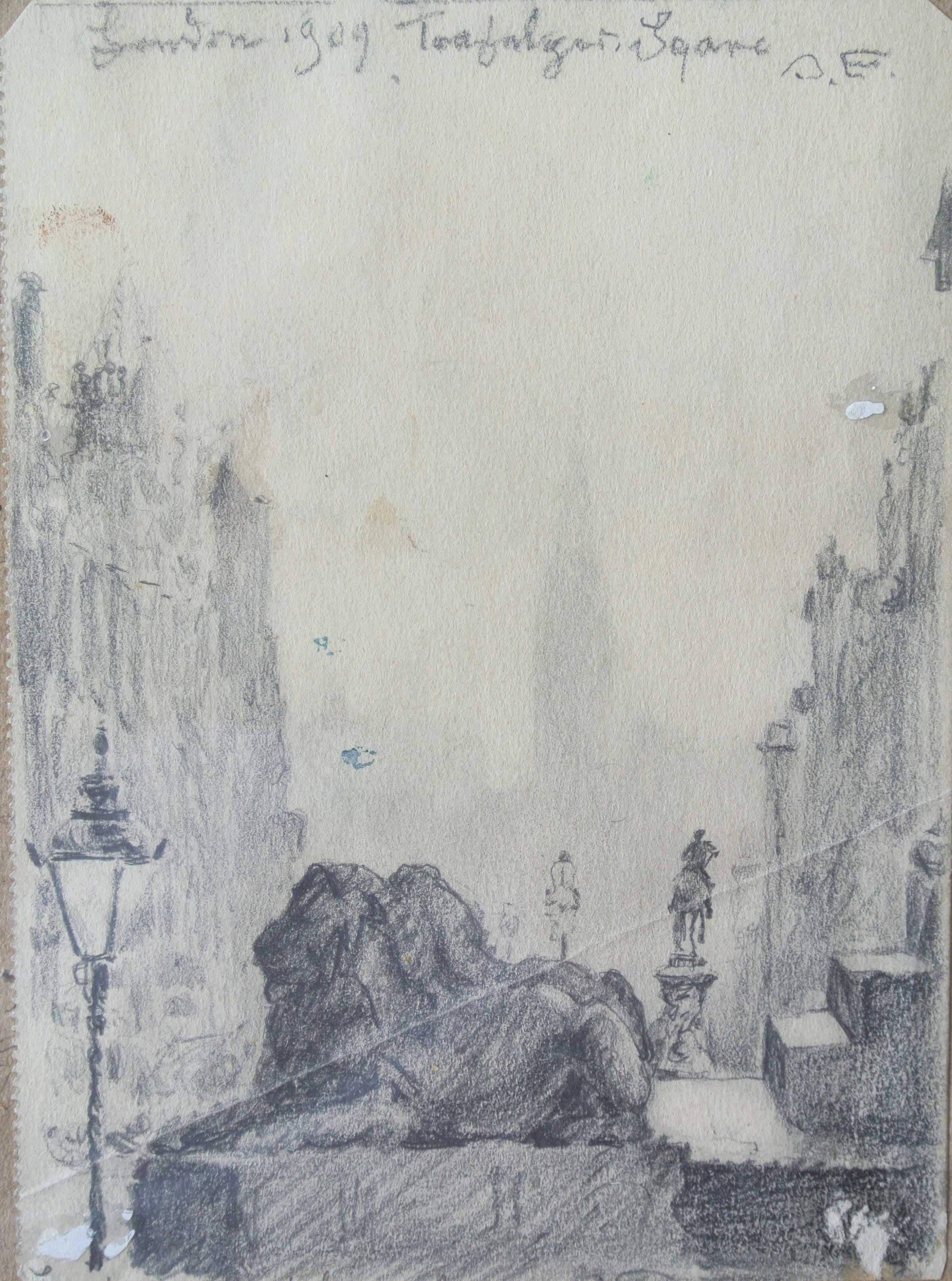 Trafalgar Square, London, 1909, für vergrößerte Ansicht anklicken!