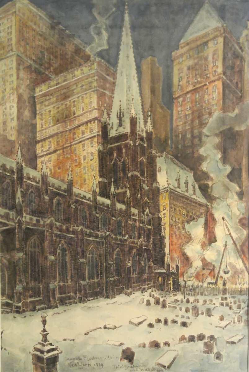 Trinity Church + Wallstreet, New York, 1929,von Jakob Fischer-Rhein! Zur vergrößerten Ansicht anklicken!