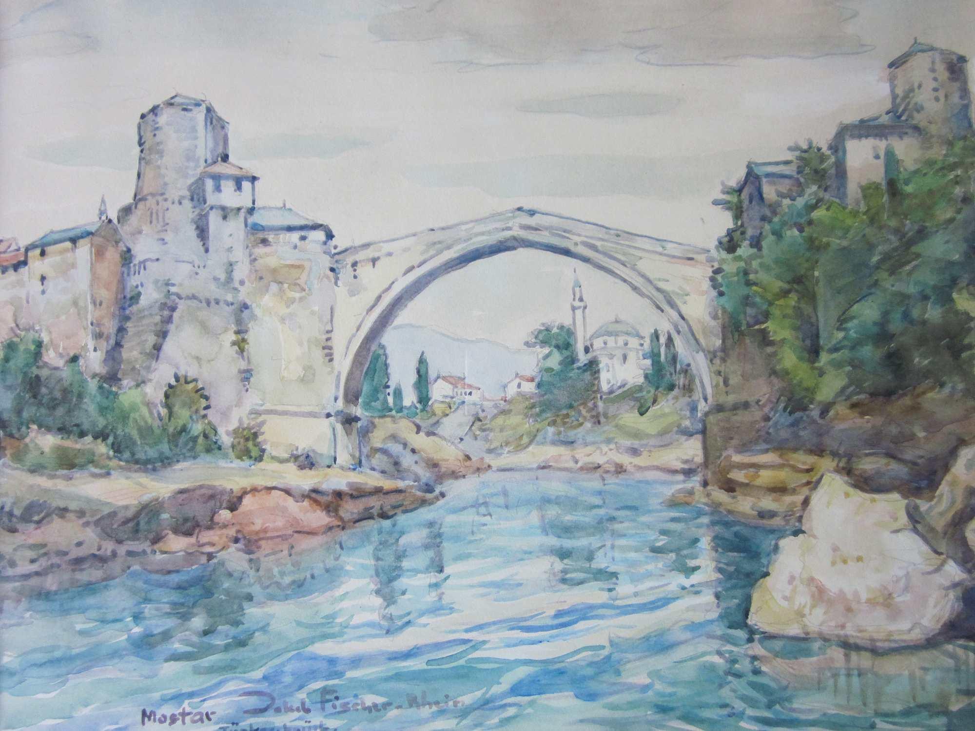 Türkenbrücke Mostar, ohne Jahr, für vergrößerte Ansicht anklicken!